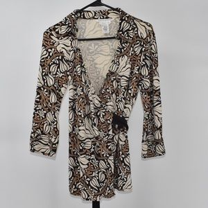 DVF tan and black maternity wrap shirt size small